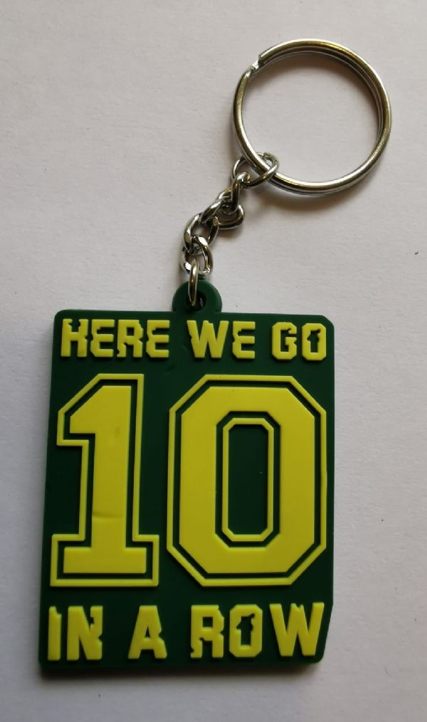 "Celtic FC Keyrings ""Here We Go 10 In A Row"""